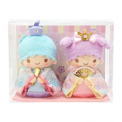 〔小禮堂〕雙子星 女兒節絨毛玩偶娃娃組《2入.粉綠》雛祭娃娃.玩具