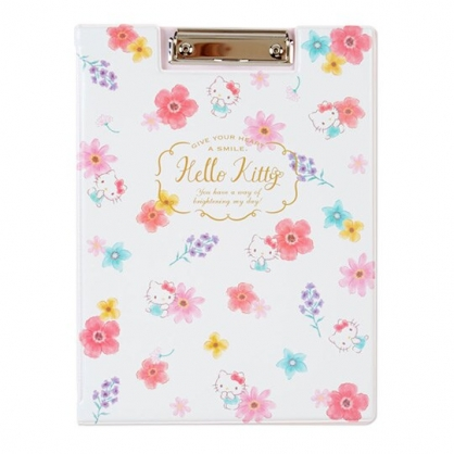 〔小禮堂〕Hello Kitty 塑膠皮質文件夾板《白》資料夾.板夾.菜單夾.幸福女孩系列