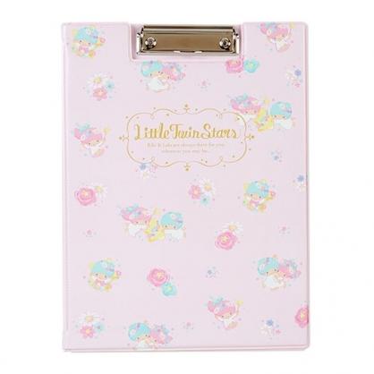 〔小禮堂〕雙子星 塑膠皮質文件夾板《粉》資料夾.板夾.菜單夾.幸福女孩系列
