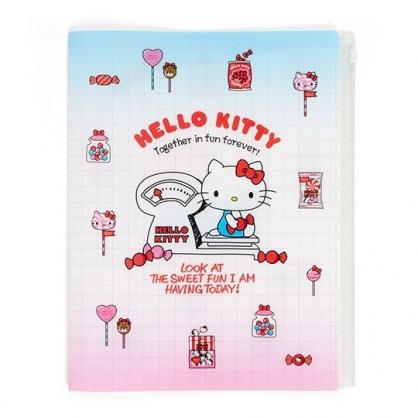 〔小禮堂〕Hello Kitty 雙開式文件夾《A4.紅白.體重計》資料夾.檔案夾.L夾