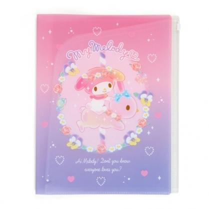 〔小禮堂〕美樂蒂 雙開式文件夾《A4.粉紫.騎兔子》資料夾.檔案夾.L夾