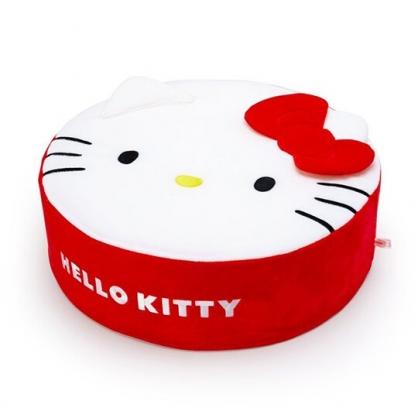 〔小禮堂〕Hello Kitty 造型耳朵絨毛圓凳椅《紅白》矮凳.絨毛椅.椅墊