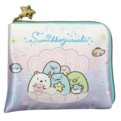 〔小禮堂〕角落生物 方形緞面L型拉鍊零錢包《粉紫.貝殼裡》耳機包.收納包