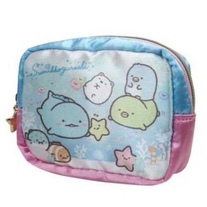 〔小禮堂〕角落生物 方形緞面拉鍊零錢包《粉藍.海底游泳》耳機包.收納包