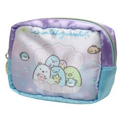〔小禮堂〕角落生物 方形緞面拉鍊零錢包《粉紫.貝殼裡》耳機包.收納包