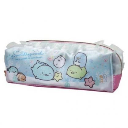 〔小禮堂〕角落生物 緞面蕾絲拉鍊筆袋《藍綠.海底游泳》鉛筆盒.化妝包.收納包