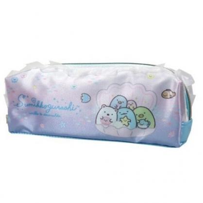 〔小禮堂〕角落生物 緞面蕾絲拉鍊筆袋《粉藍.貝殼》鉛筆盒.化妝包.收納包
