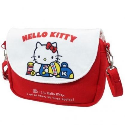 〔小禮堂〕Hello Kitty 棉質扣式觸控斜背手機包《紅白.網球拍》斜背包.手拿包