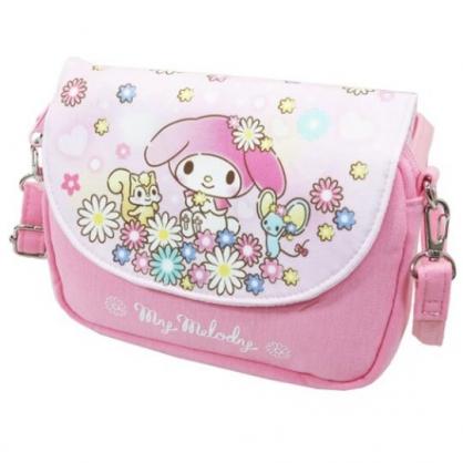 〔小禮堂〕美樂蒂 棉質扣式觸控斜背手機包《粉.花朵》斜背包.手拿包