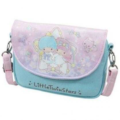 〔小禮堂〕雙子星 棉質扣式觸控斜背手機包《粉綠.星星框》斜背包.手拿包