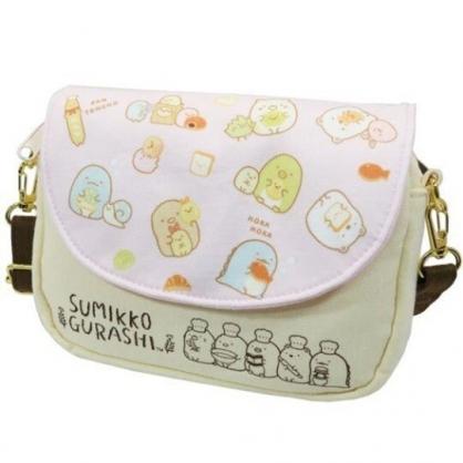 〔小禮堂〕角落生物 棉質扣式觸控斜背手機包《粉黃.吃麵包》斜背包.手拿包