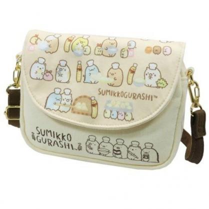 〔小禮堂〕角落生物 棉質扣式觸控斜背手機包《米黃.做麵包》斜背包.手拿包