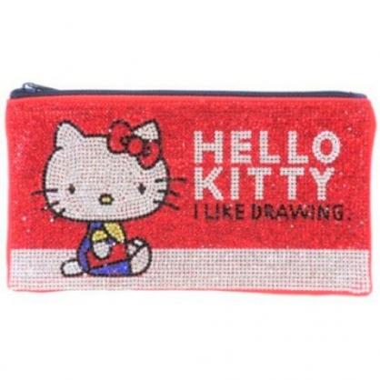 〔小禮堂〕Hello Kitty 水鑽帆布扁平拉鍊筆袋《紅白》收納包.化妝包.鉛筆盒