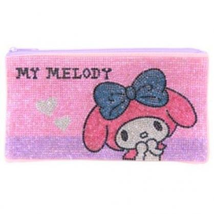 〔小禮堂〕美樂蒂 水鑽帆布扁平拉鍊筆袋《粉紫》收納包.化妝包.鉛筆盒