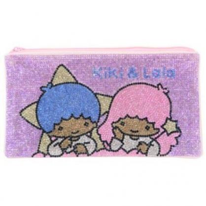 〔小禮堂〕雙子星 水鑽帆布扁平拉鍊筆袋《粉紫》收納包.化妝包.鉛筆盒