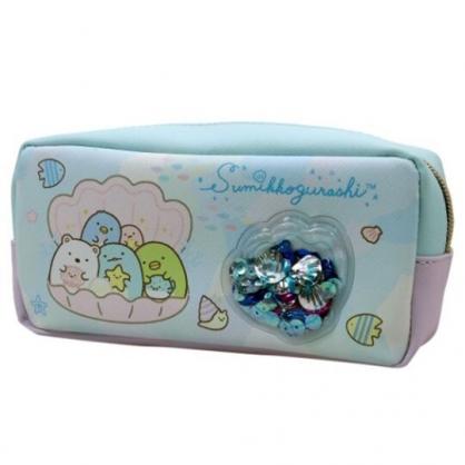 〔小禮堂〕角落生物 皮質拉鍊筆袋《綠藍.貝殼裡》鉛筆盒.化妝包.收納包