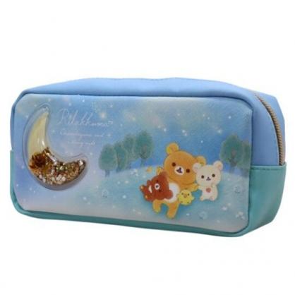 〔小禮堂〕懶懶熊 拉拉熊 皮質拉鍊筆袋《藍綠.星空》鉛筆盒.化妝包.收納包