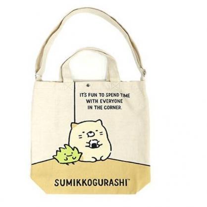 〔小禮堂〕角落生物 貓咪 直式帆布斜背袋手提袋《米黃.牆角》側背袋.補習袋.書袋