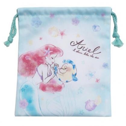 〔小禮堂〕迪士尼 小美人魚 棉質束口袋《粉綠.城堡》18x21cm.縮口袋.收納袋