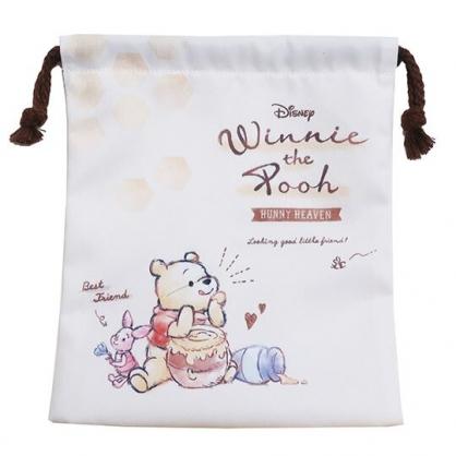 〔小禮堂〕迪士尼 小熊維尼 棉質束口袋《米棕.吃蜂蜜》18x21cm.縮口袋.收納袋