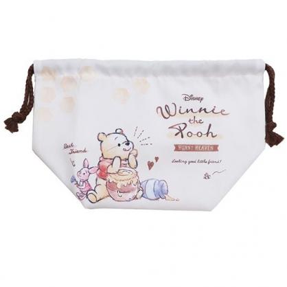 〔小禮堂〕迪士尼 小熊維尼 日製棉質束口便當袋《米棕.吃蜂蜜》縮口袋.收納袋