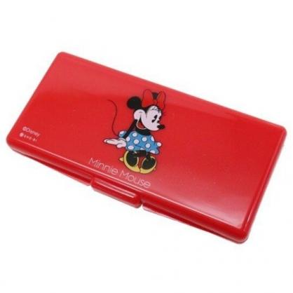 〔小禮堂〕迪士尼 米妮 攜帶式棉花棒收納盒鏡盒《紅.點點裙》置物盒.棉棒盒.飾品盒