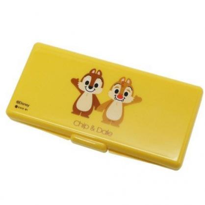 〔小禮堂〕迪士尼 奇奇蒂蒂 攜帶式棉花棒收納盒鏡盒《黃.牽手》置物盒.棉棒盒.飾品盒