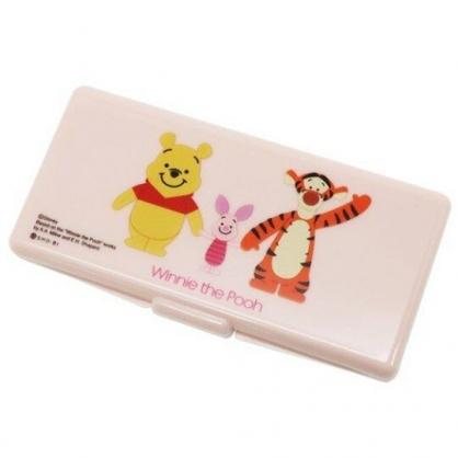 〔小禮堂〕迪士尼 小熊維尼 攜帶式棉花棒收納盒鏡盒《粉.牽手》置物盒.棉棒盒.飾品盒