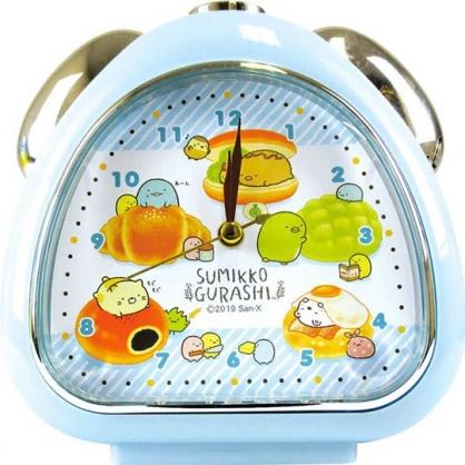 〔小禮堂〕角落生物 三角形鬧鐘《藍棕.麵包》桌鐘.時鐘