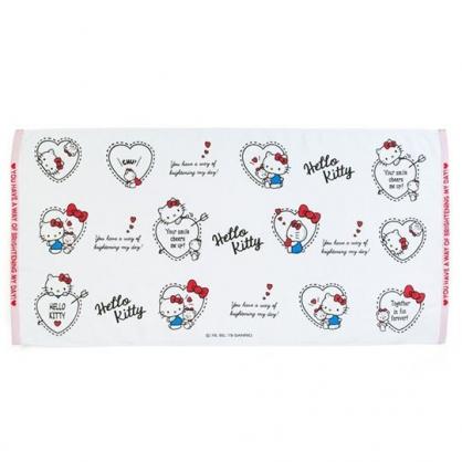 〔小禮堂〕Hello Kitty 純棉割絨大浴巾《紅白.愛心框》52x104cm.毛巾