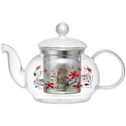 〔小禮堂〕Hello Kitty 透明耐熱玻璃茶壺《紅.花朵》600ml.咖啡壺.水壺