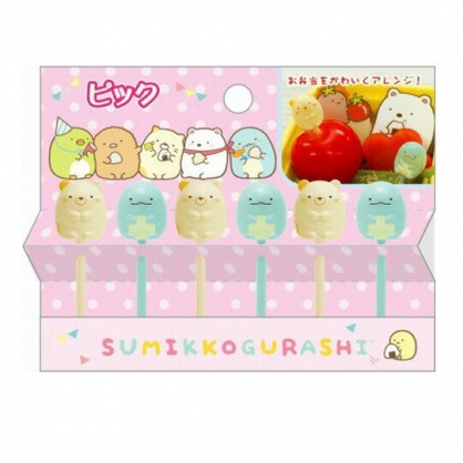 〔小禮堂〕角落生物 全身造型塑膠食物裝飾叉組《6入.藍黃》甜點叉.水果叉