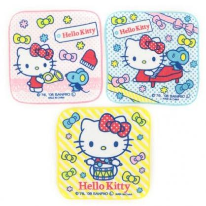 〔小禮堂〕Hello Kitty 純棉割絨圓角小方巾組《3入.粉.拿樂器》16x16cm.毛巾.手帕