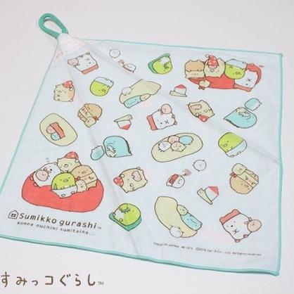 〔小禮堂〕角落生物 日製可掛式純棉紗布擦手巾《綠白.抱頭》30x30cm.毛巾