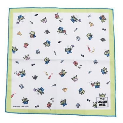 〔小禮堂〕迪士尼 三眼怪 棉質便當包巾《綠白.食物滿版》43x43cm.手帕.餐巾.桌巾