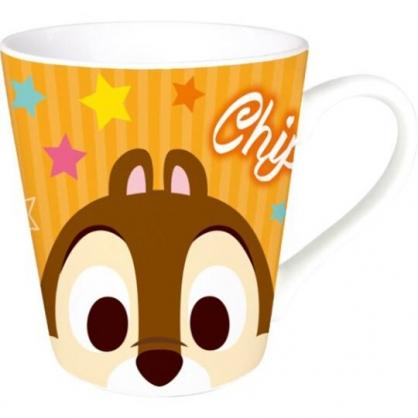 〔小禮堂〕迪士尼 奇奇蒂蒂 陶瓷馬克杯《橘棕.大臉》咖啡杯.茶杯
