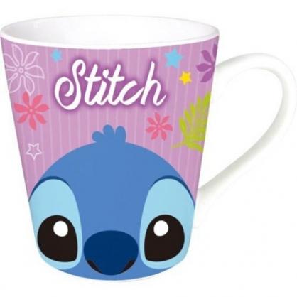 〔小禮堂〕迪士尼 史迪奇 陶瓷馬克杯《藍紫.大臉》咖啡杯.茶杯