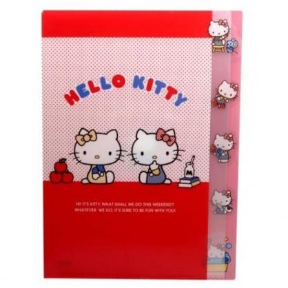 〔小禮堂〕Hello Kitty 日製L型分類文件夾《A4.紅.mimmy》資料夾.檔案夾.L夾