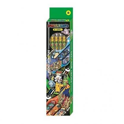 〔小禮堂〕神奇寶貝Pokemon皮卡丘 日製六角鉛筆組《12入.綠.寶貝集合》B鉛筆.學童文具