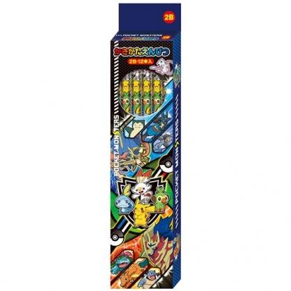 〔小禮堂〕神奇寶貝Pokemon皮卡丘 日製六角鉛筆組《12入.藍.寶貝集合》2B鉛筆.學童文具