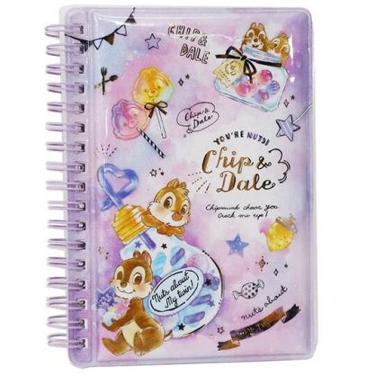 〔小禮堂〕迪士尼 奇奇蒂蒂 迷你防水封面左翻線圈筆記本《紫棕.燈泡糖果》空白記事本