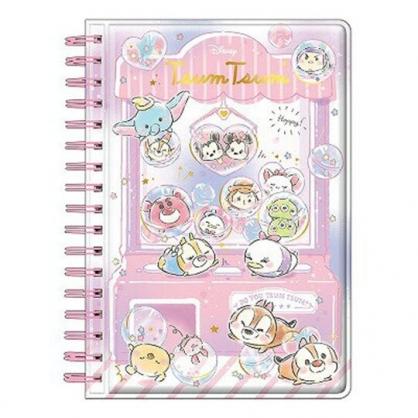 〔小禮堂〕迪士尼TsumTsum 迷你防水封面左翻線圈貼紙本《粉紫》貼紙收集簿