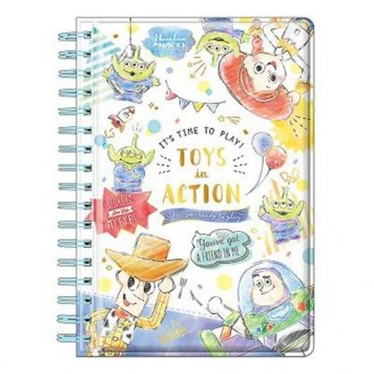 〔小禮堂〕迪士尼 玩具總動員 迷你防水封面左翻線圈筆記本《綠白.對話框》空白記事本
