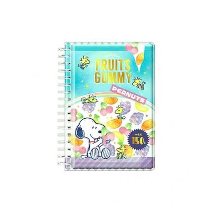 〔小禮堂〕史努比 迷你防水封面左翻線圈筆記本《綠紫.水果》空白記事本.貼紙本