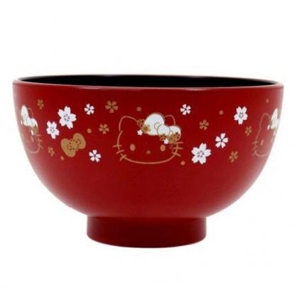 〔小禮堂〕Hello Kitty 日製塑膠漆器碗《紅.大臉櫻花》塑膠碗.飯碗.金正陶器