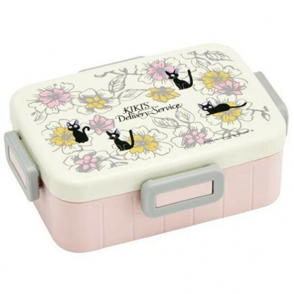 〔小禮堂〕宮崎駿 魔女宅急便 日製方形四面扣便當盒《灰粉.花朵》650ml.保鮮盒.食物盒.餐盒