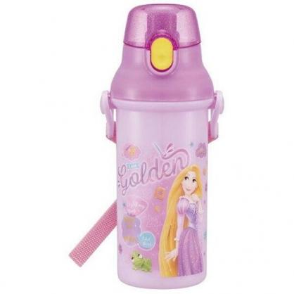 〔小禮堂〕迪士尼 長髮公主 日製直飲式水壺附背帶《紫黃.禮服》480ml.水瓶.兒童水壺
