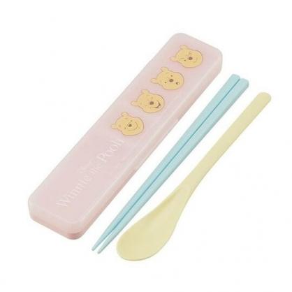 〔小禮堂〕迪士尼 小熊維尼 日製盒裝兩件式餐具組《黃粉.整排大臉》匙筷.環保餐具.兒童餐具