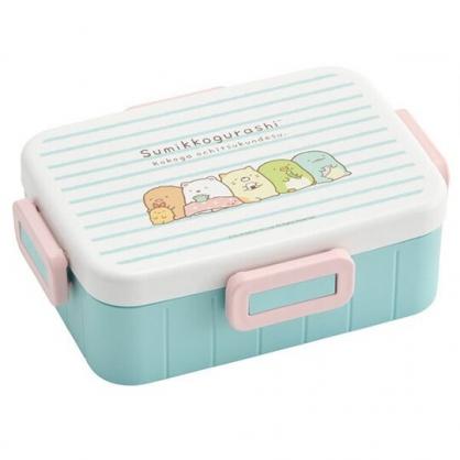 〔小禮堂〕角落生物 日製方形四面扣便當盒《綠粉.橫紋》650ml.保鮮盒.食物盒.餐盒