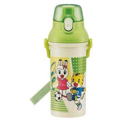 〔小禮堂〕巧虎 日製直飲式水壺附背帶《綠白.運動》480ml.水瓶.兒童水壺